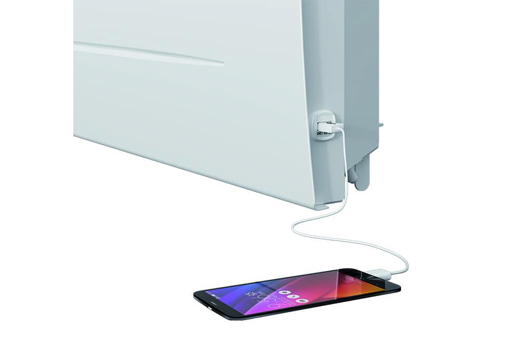 Radiateur électrique à Inertie Sèche Sibayak Prise Dalimentation Usb Pour Charger Son Smartphone